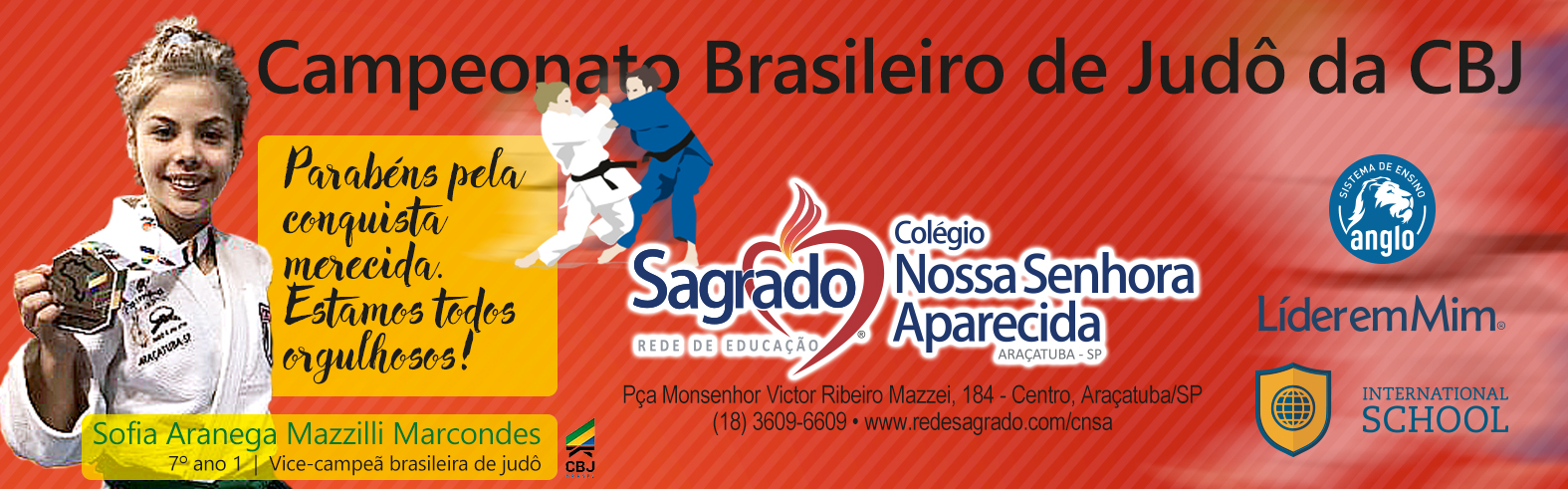 Sofia é vice-campeã brasileira de judô